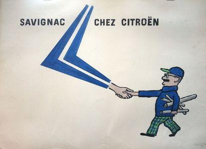 Affiche Savignac chez Citroën signée Savignac,...