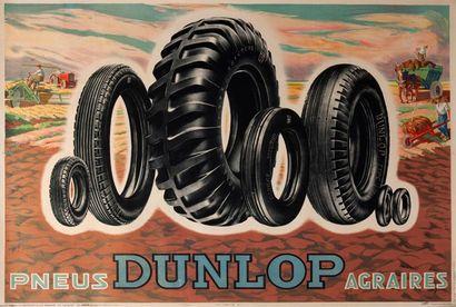 Affiche pneus Dunlop agraires entoilée 120X160...