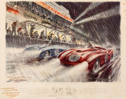 Tableau 24H du Mans 1954 par Geo Ham Dédicace...