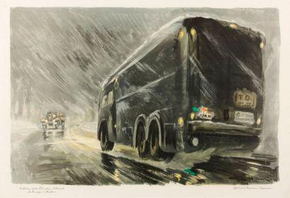 Tableau camion dans la nuit sous la pluie...
