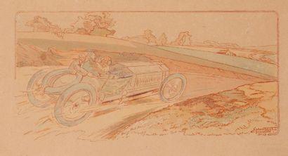 Tableau signé Ernest Montaut voiture en pleine...