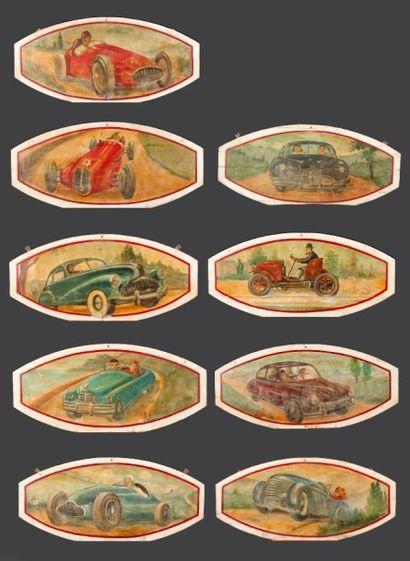 Lot de neuf panneaux d'art forain en bois,...