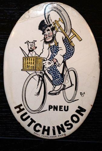 Plaque émaillée ovale Pneu Hutchinson Signée...