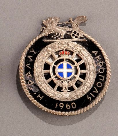 Badge rallye automobile Acropole 1960 Quelques accidents à l'émail