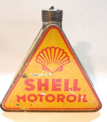 Bidon d'huile triangulaire Shell Motoroil...