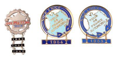Lot de 3 epinglettes Tour de France Automobile 1953, 1954 et 1956 Bon état