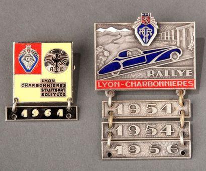 Lot de 2 epinglettes de Rallye Lyon Charbonnières...
