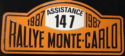 Plaque Rallye Monte Carlo 1987 Assistance...