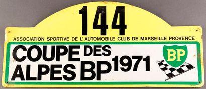 Plaque Rallye Coupe des Alpes 1971. Concurrent...