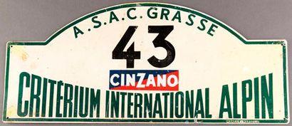 Plaque Rallye Critérium International Alpin....