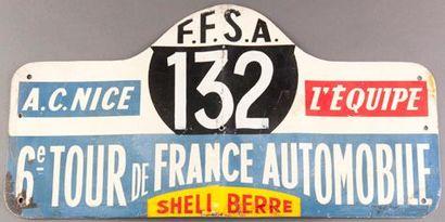 Plaque 6ème Tour de France Automobile. Concurrent...