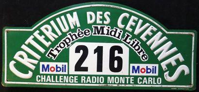 Plaque Rallye Criterium des Cevennes 1971....