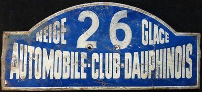 Plaque Rallye Neige et Glace années 50 N...