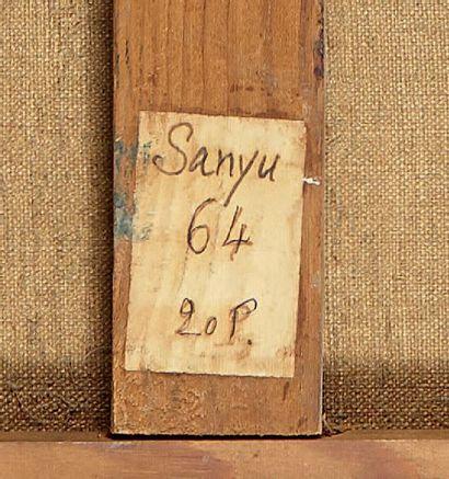 SANYU (1901-1966) Fleurs dans un vase portant une inscription , années 1930 Huile...