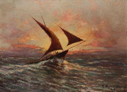Robert DUMONT - DUPARC (1866 - 1930) Marine Huile sur carton., signée en bas à droite....