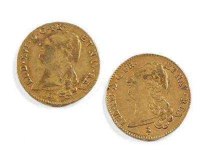 Deux doubles Louis d'or au buste nu...