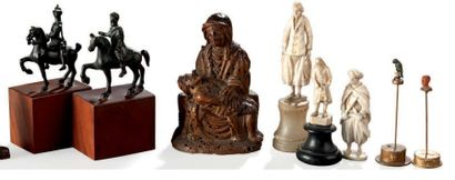 Ensemble de sujets divers: - Trois sujets en ivoire de Dieppe (accidents et manques);...