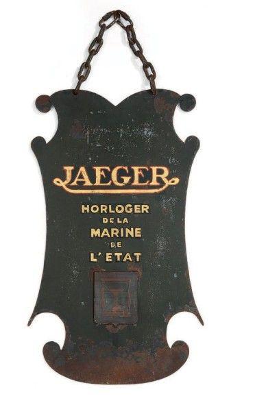 Enseigne d'horlogerie, en tôle d'acier, inscription...