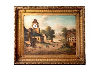 Tableau horloge avec une huile sur toile...