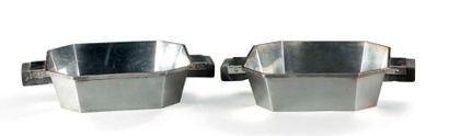 Paire de jattes en argent uni de forme hexagonale,...