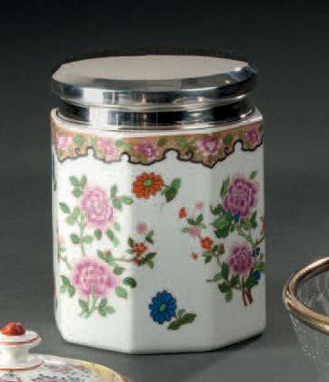 Pot à thé en porcelaine de forme octogonale...