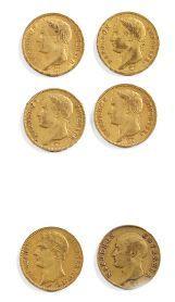 Six pièces de 40 fr or Napoléon 1811,...