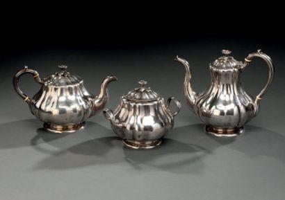 Service à thé et café en argent à décor de...