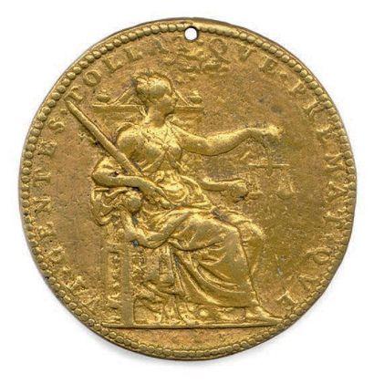 LOUIS XIII le Juste Médaille en bronze doré d'époque de Dupré, 1623. La Justice....