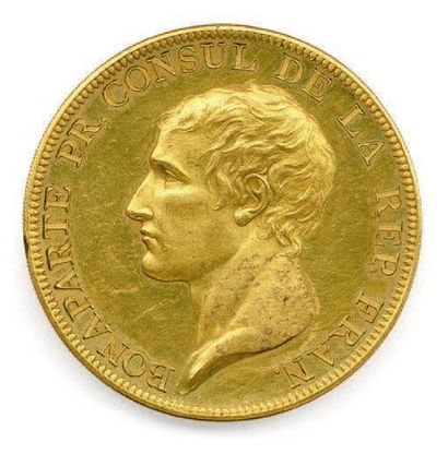 PREMIER EMPIRE Médaille en bronze doré de Droz MDCCCII (1802). «Le retour d'Astrée»...