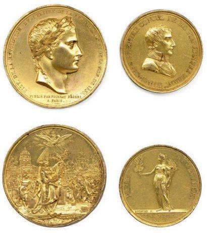 Lot de deux médailles françaises en bronze:...