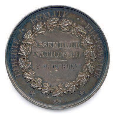 IIe REPUBLIQUE Médaille parlementaire en argent de l'Assemblée Nationale 1848 attribuée...