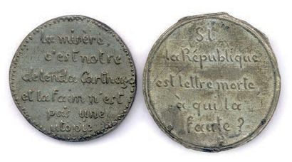 Lot de deux médailles en étain de la IIe REPUBLIQUE: La misère c'est notre DELENDA...