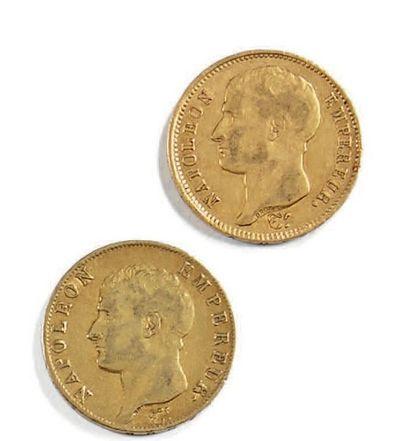 Deux pièces de 40 fr or Napoléon An 12 et...