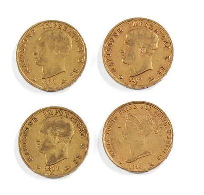 Quatre pièces de 40 lire or Napoléone...