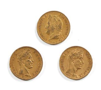 Trois pièces de 40 fr or Charles X et Louis-Philippe...