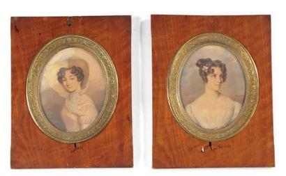 FRANÇOIS MEURET (1800-1887) Portrait de jeune fille vers la droite en robe de voile...