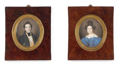 PIERRE-LOUIS BOUVIER (1765-1836) Double portraits figurant un couple de personnages,...
