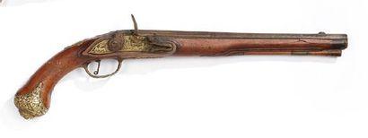 Pistolet d'arçon à silex, canon à deux registres, cannelé sur le premier; platine...
