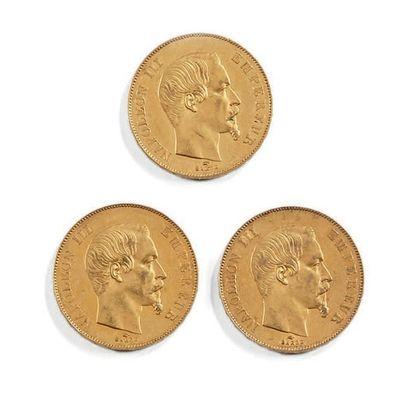 Trois pièces de 50 fr or Napoléon III 1855 et 1856. Poids total: 48,4