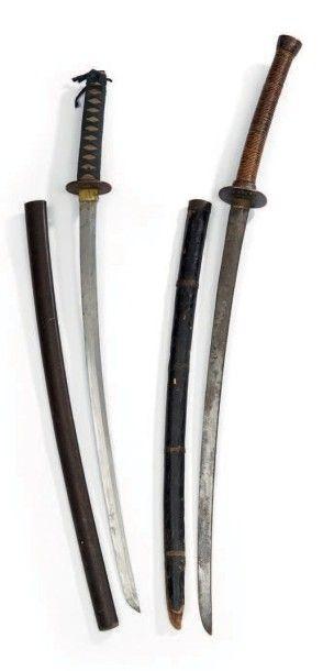 Un sabre japonais, katana, tsuba ronde en...