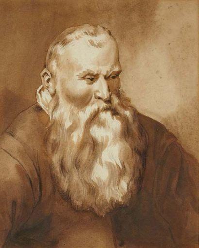 Jean de BISSCHOP (1628-1671) Ecole hollandaise XVIIème siècle Portrait de vieillard...