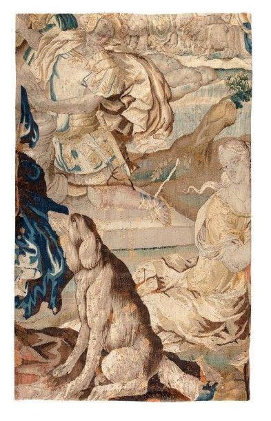 Fragment de tapisserie représentant un chien...