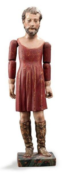 Manequin articulé en bois polychrome vêtu...