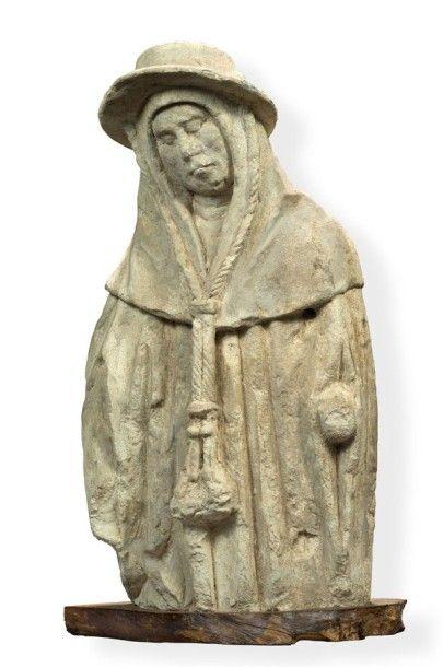 Statuette en pierre calcaire figurant un...