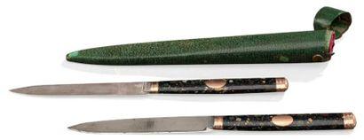 Etui en galuchat comprenant deux couteaux...