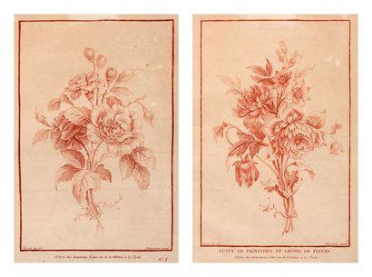 Paire de gravures Fleurs Gravées par DEMARTEAU...