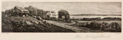 Petite gravure en noir d'après Boesen Paysage...