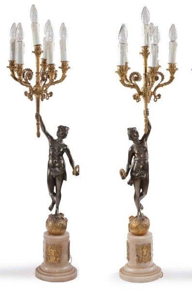 Paire de candélabres en bronze doré ou patiné...