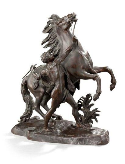 D'après COUSTOU Cheval de Marly Bronze H: 50 cm