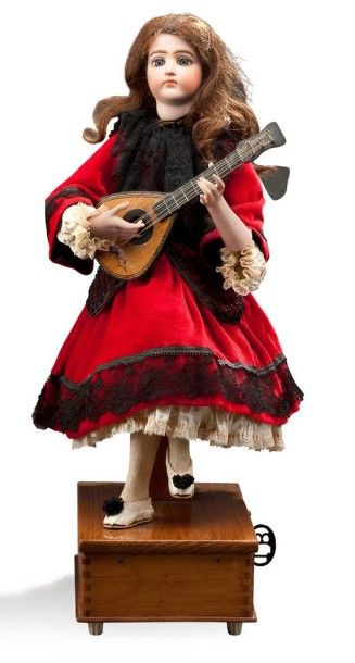 LAMBERT-BOURGEOIS Automate sur socle bois avec un air de musique figurant une joueuse...